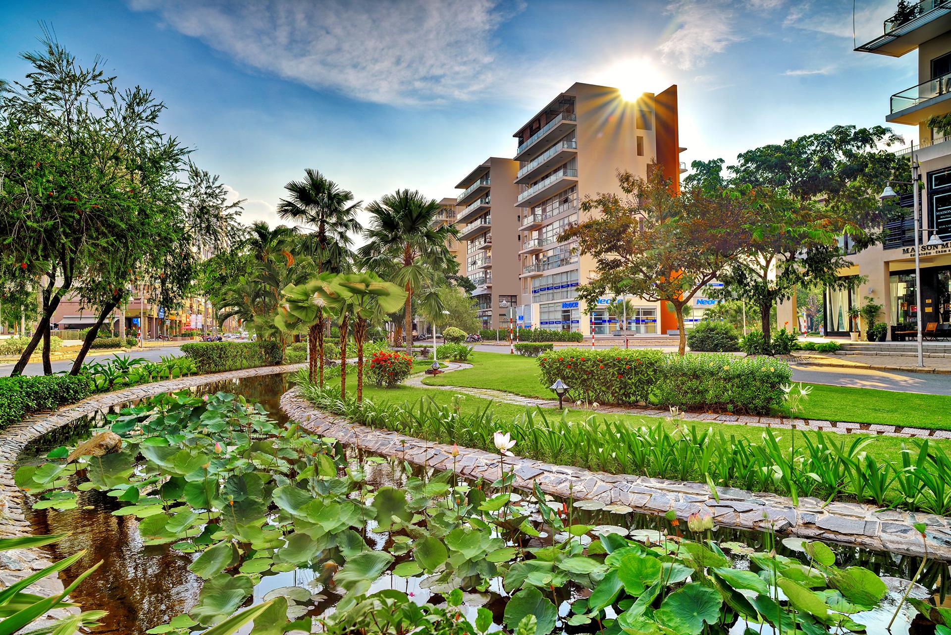 cong vien khu kenh dao 1 - 5 cụm đô thị do Phú Mỹ Hưng phát triển