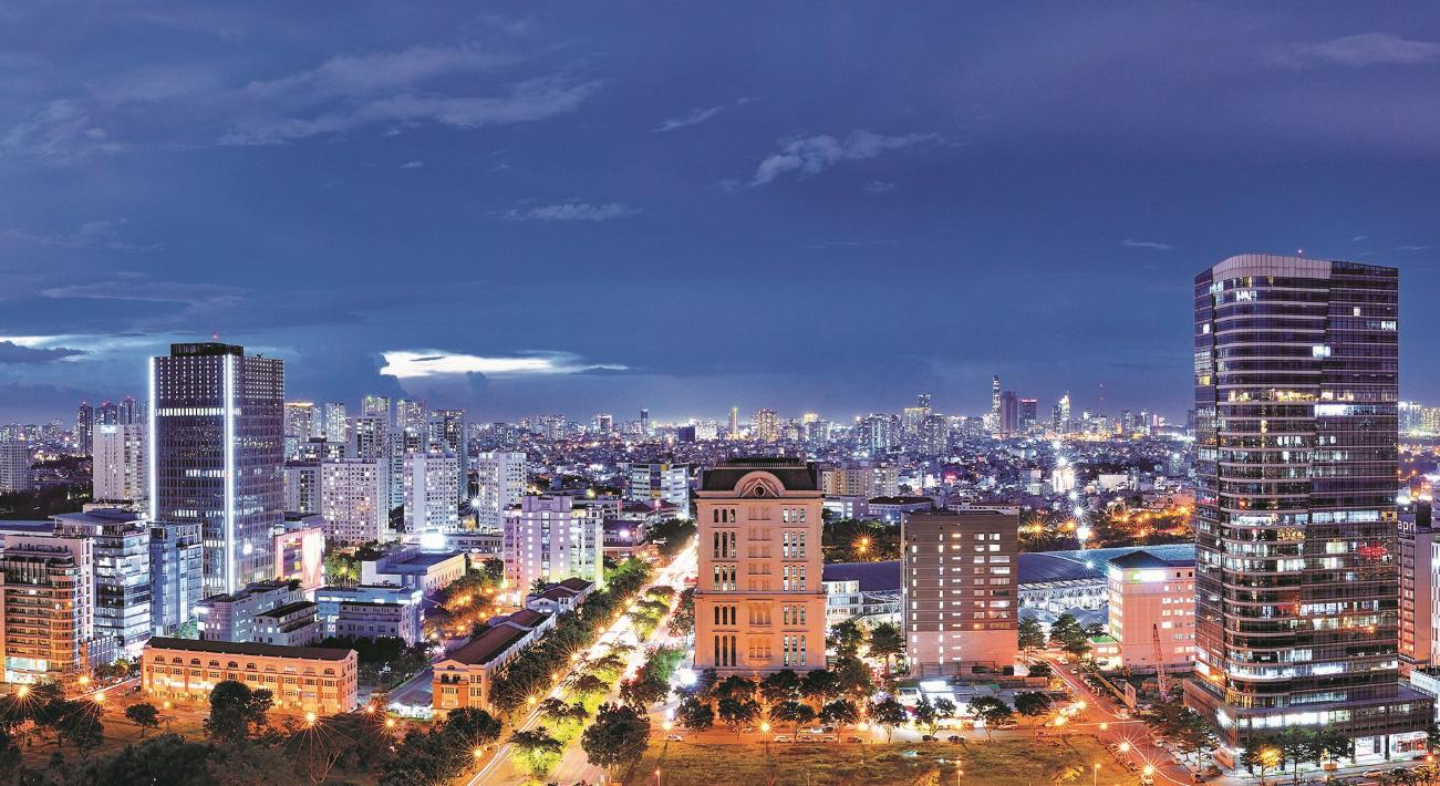 Một góc khu Thương mại tài chính quốc tế Phú Mỹ Hưng.