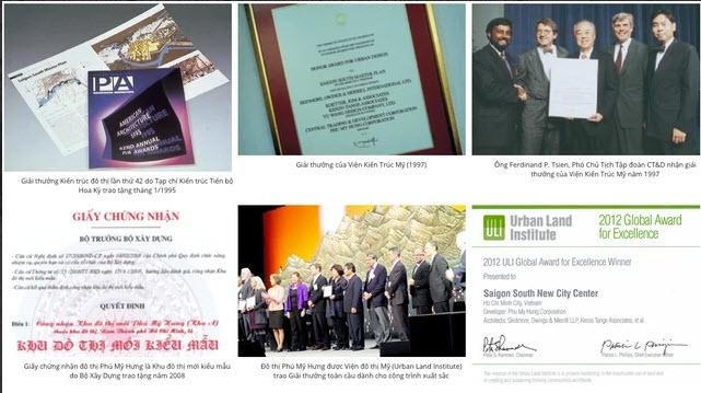 Những thành tích và giải thưởng mà khu đô thị Phú Mỹ Hưng từng đạt được.